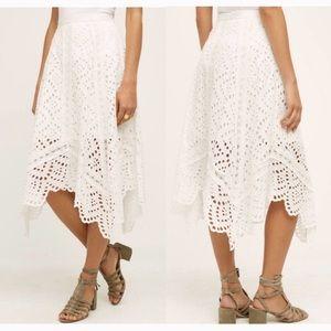 Anthropologie Foxiedox Eyelet White Midi Skirt M